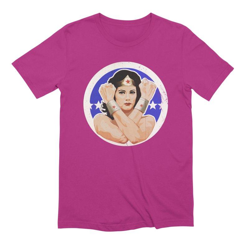 Lynda Carter as Wonder Woman Illustration Men's Extra Soft T-Shirt by 21 Squirrels Brewery Shop