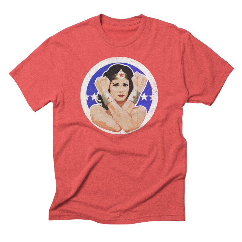 Lynda Carter as Wonder Woman Illustration Men's Triblend T-Shirt by 21 Squirrels Brewery Shop