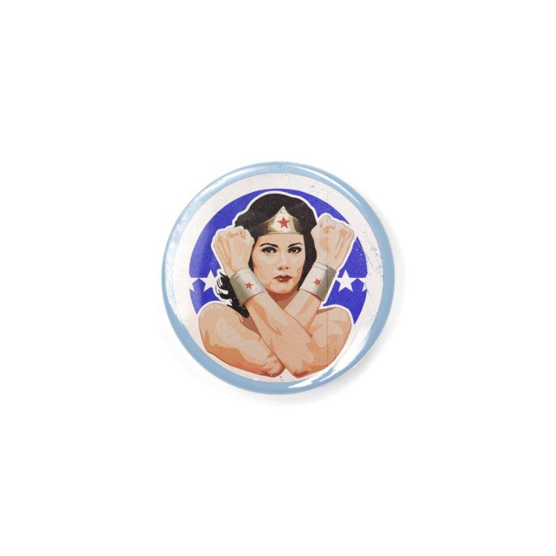 Lynda Carter as Wonder Woman Illustration Accessories Button by 21 Squirrels Brewery Shop