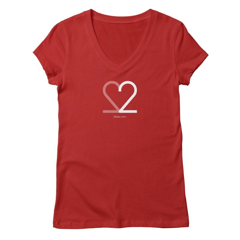 Heart Bite in Women's V-Neck Red by 2bites's Artist Shop