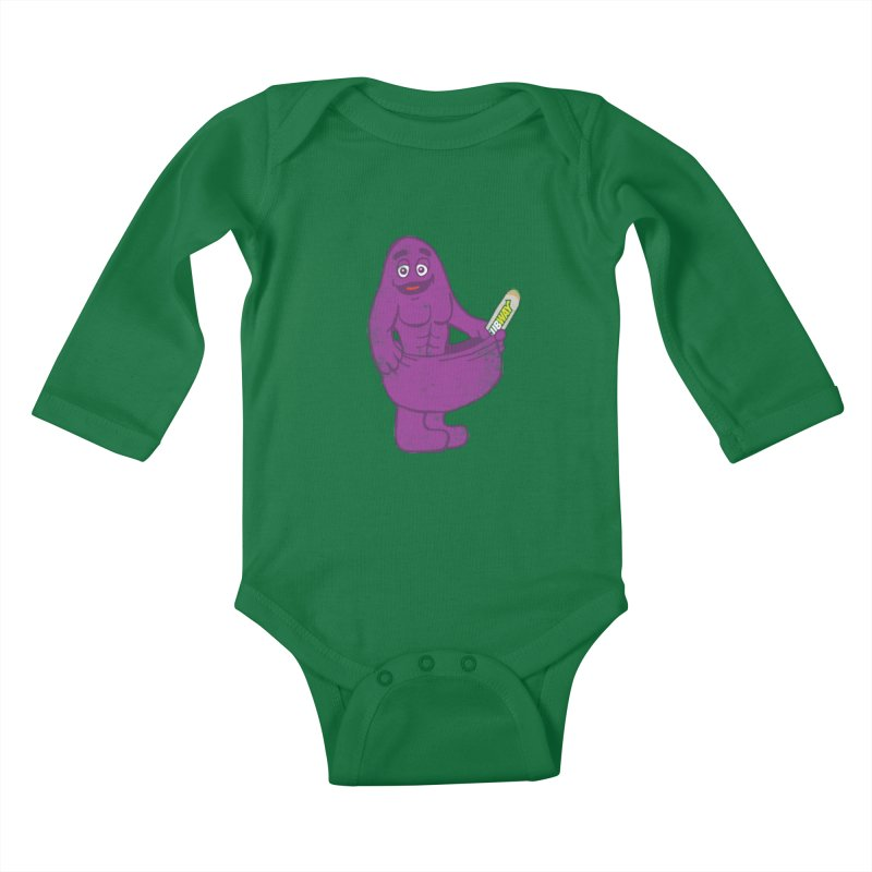 Grimace tries the Subway diet.* Kids Baby Longsleeve Bodysuit by 2D
