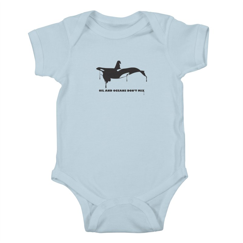 OIL AND OCEANS DON'T MIX Kids Baby Bodysuit by 2D