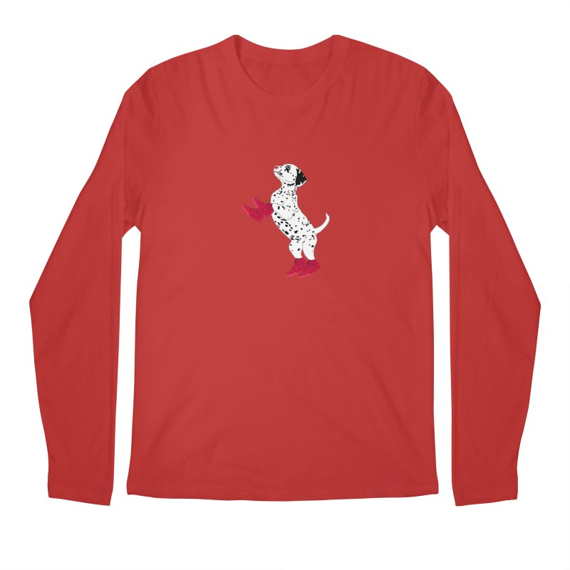 Dalmatian Puppy with Red High Top Basketball Shoes Men's Longsleeve T-Shirt by 2Dyzain's Artist Shop