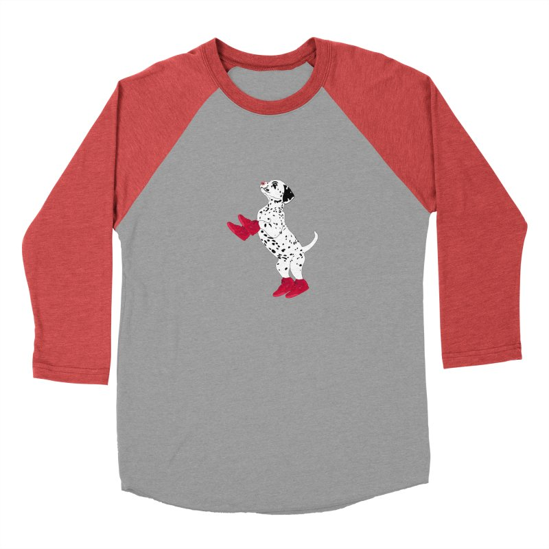 Dalmatian Puppy with Red High Top Basketball Shoes Men's Baseball Triblend T-Shirt by 2Dyzain's Artist Shop