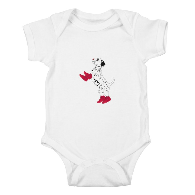 Dalmatian Puppy with Red High Top Basketball Shoes Kids Baby Bodysuit by 2Dyzain's Artist Shop