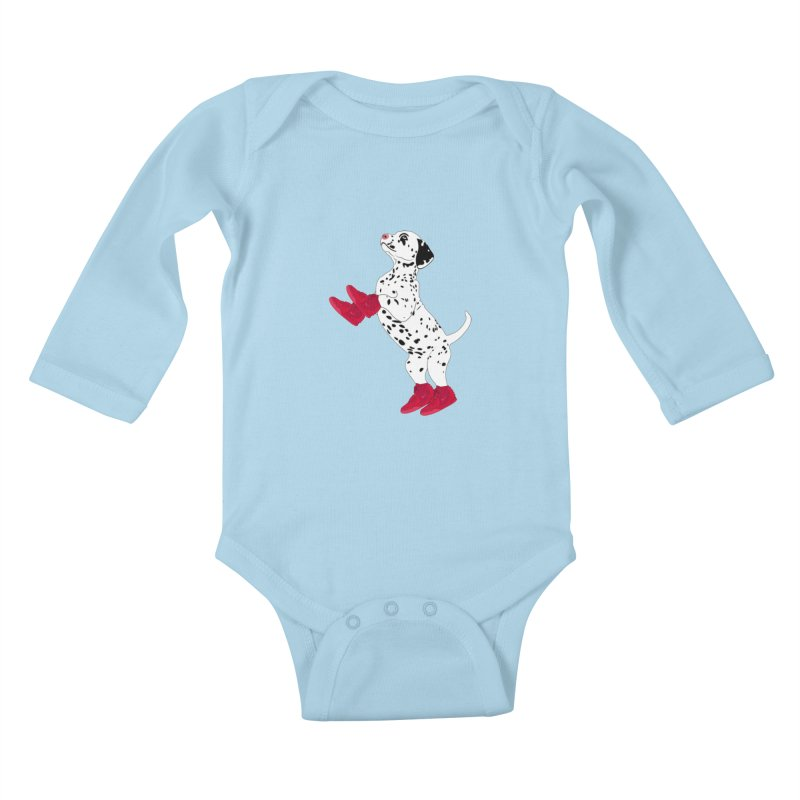Dalmatian Puppy with Red High Top Basketball Shoes Kids Baby Longsleeve Bodysuit by 2Dyzain's Artist Shop