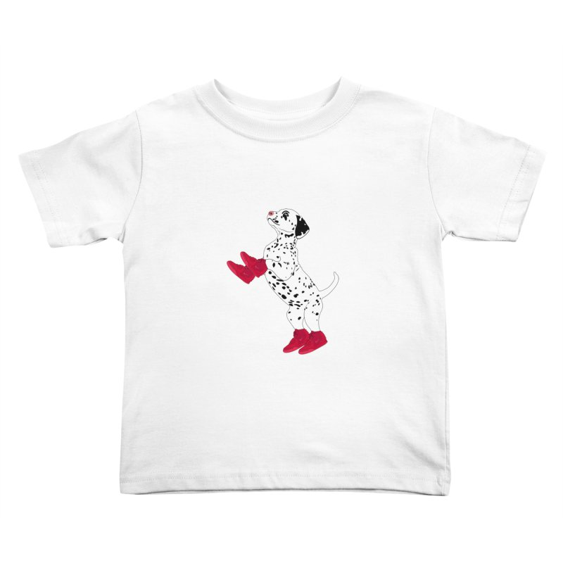 Dalmatian Puppy with Red High Top Basketball Shoes Kids Toddler T-Shirt by 2Dyzain's Artist Shop