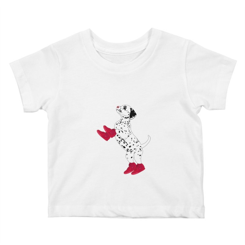 Dalmatian Puppy with Red High Top Basketball Shoes Kids Baby T-Shirt by 2Dyzain's Artist Shop