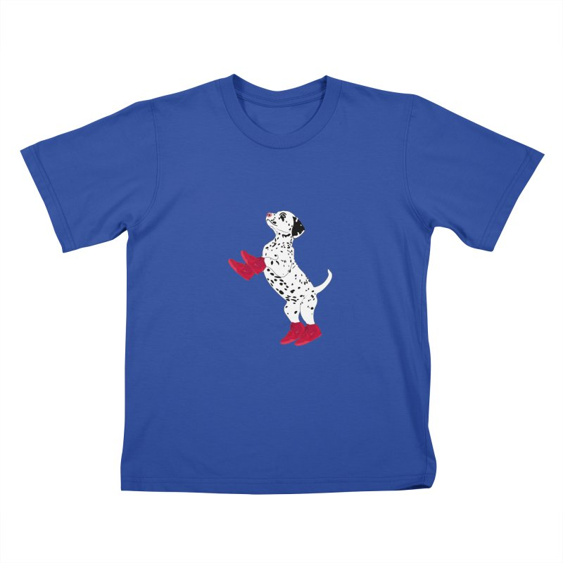 Dalmatian Puppy with Red High Top Basketball Shoes Kids T-shirt by 2Dyzain's Artist Shop