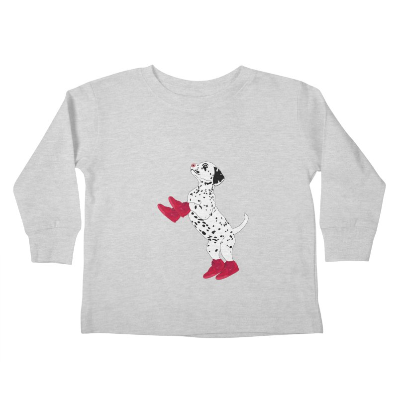 Dalmatian Puppy with Red High Top Basketball Shoes Kids Toddler Longsleeve T-Shirt by 2Dyzain's Artist Shop