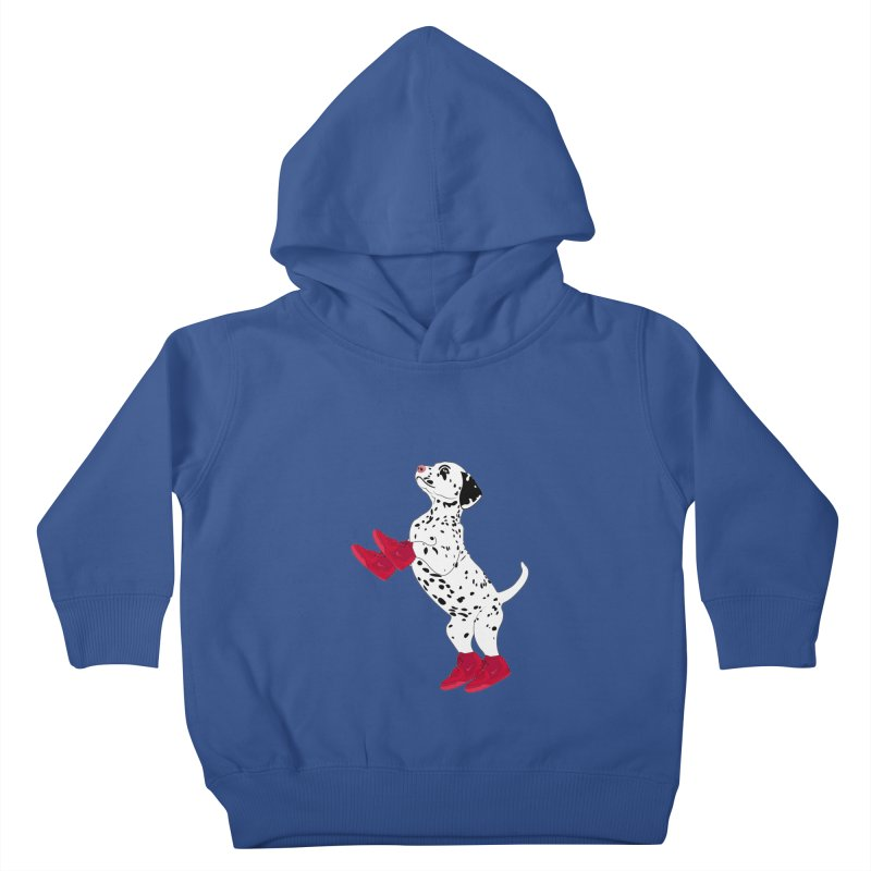 Dalmatian Puppy with Red High Top Basketball Shoes Kids Toddler Pullover Hoody by 2Dyzain's Artist Shop