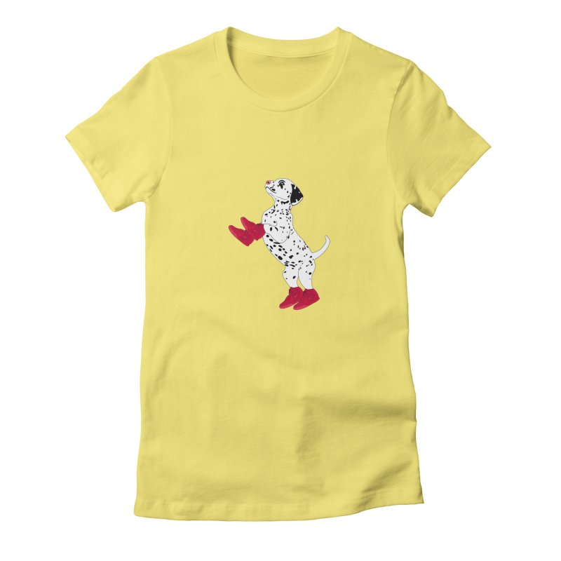 Dalmatian Puppy with Red High Top Basketball Shoes Women's Fitted T-Shirt by 2Dyzain's Artist Shop