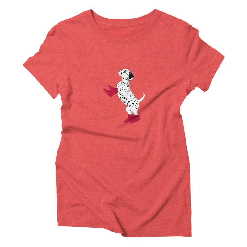 Dalmatian Puppy with Red High Top Basketball Shoes Women's Triblend T-Shirt by 2Dyzain's Artist Shop