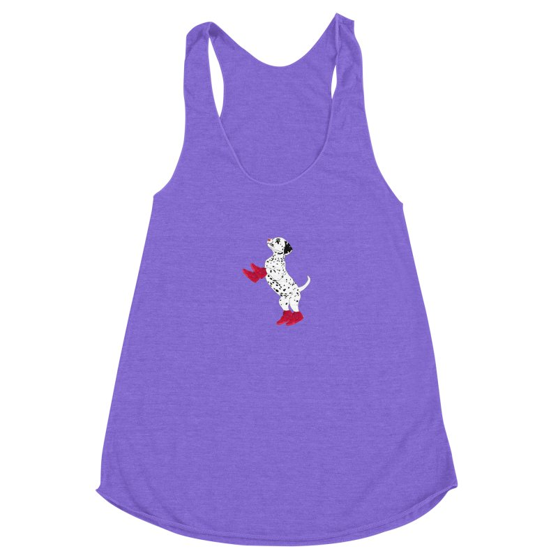 Dalmatian Puppy with Red High Top Basketball Shoes Women's Racerback Triblend Tank by 2Dyzain's Artist Shop