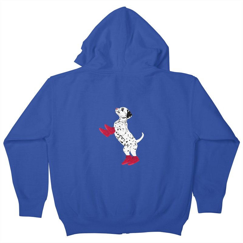 Dalmatian Puppy with Red High Top Basketball Shoes Kids Zip-Up Hoody by 2Dyzain's Artist Shop