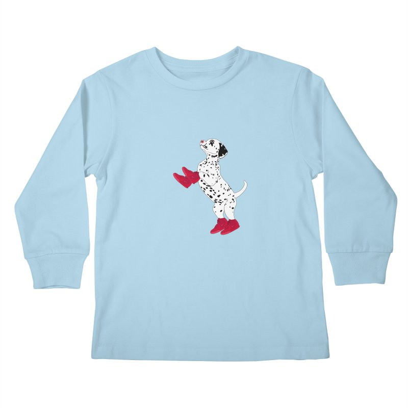 Dalmatian Puppy with Red High Top Basketball Shoes Kids Longsleeve T-Shirt by 2Dyzain's Artist Shop