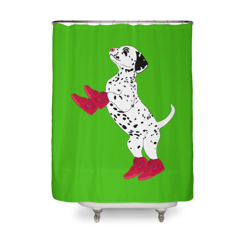 Dalmatian Puppy with Red High Top Basketball Shoes Home Shower Curtain by 2Dyzain's Artist Shop
