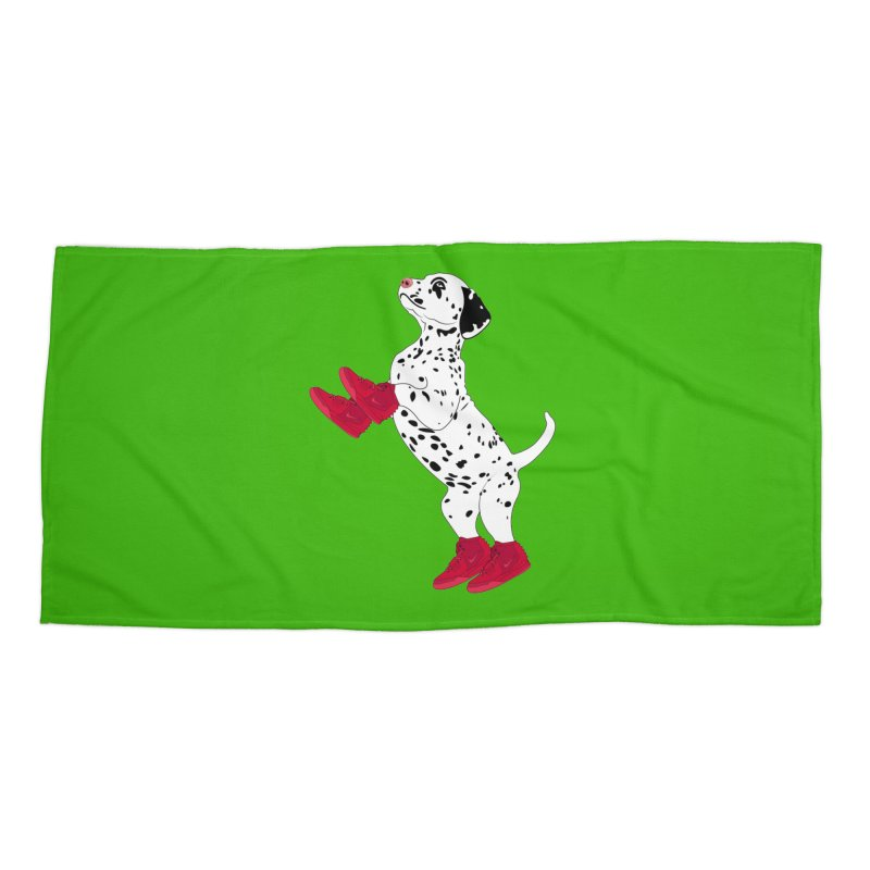 Dalmatian Puppy with Red High Top Basketball Shoes Accessories Beach Towel by 2Dyzain's Artist Shop