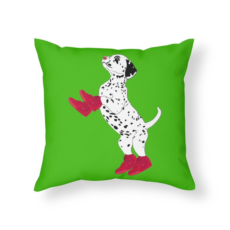 Dalmatian Puppy with Red High Top Basketball Shoes Home Throw Pillow by 2Dyzain's Artist Shop