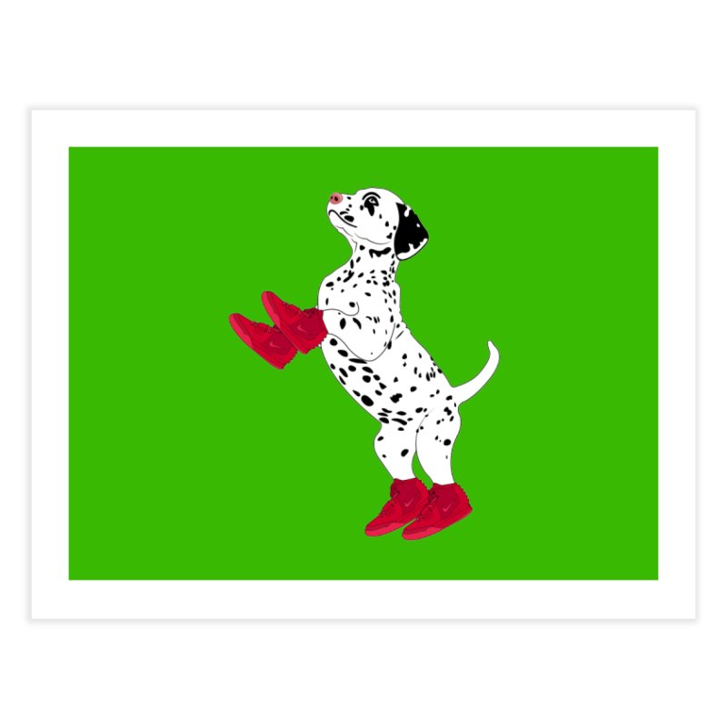 Dalmatian Puppy with Red High Top Basketball Shoes Home Fine Art Print by 2Dyzain's Artist Shop
