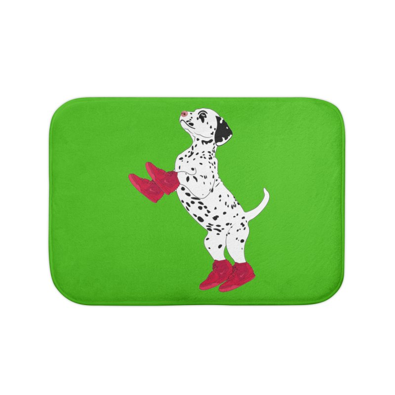 Dalmatian Puppy with Red High Top Basketball Shoes Home Bath Mat by 2Dyzain's Artist Shop