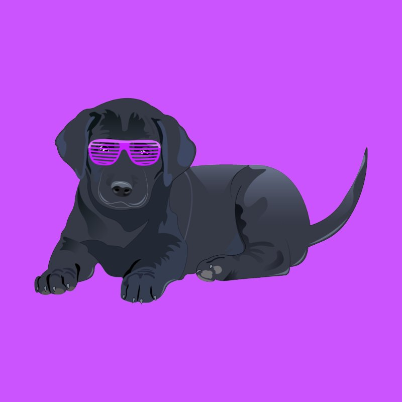 Black Lab Puppy with Purple Glasses by 2Dyzain's Artist Shop