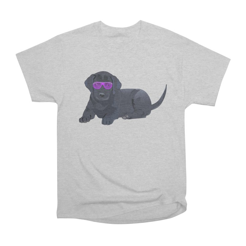 Black Lab Puppy with Purple Glasses Women's Classic Unisex T-Shirt by 2Dyzain's Artist Shop