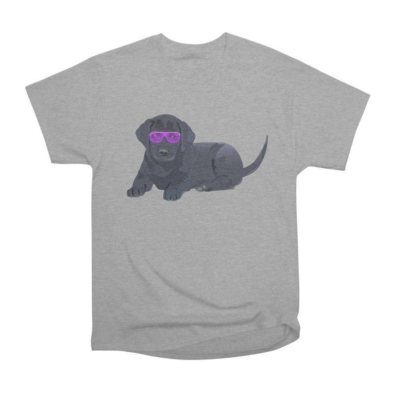 Black Lab Puppy with Purple Glasses Men's Heavyweight T-Shirt by 2Dyzain's Artist Shop