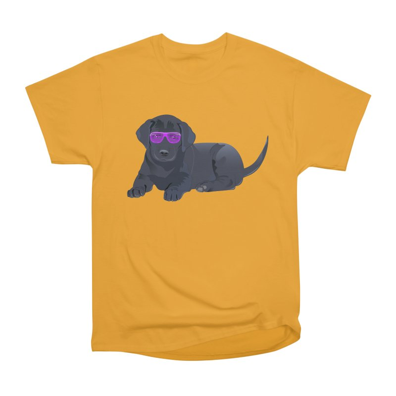 Black Lab Puppy with Purple Glasses Women's Heavyweight Unisex T-Shirt by 2Dyzain's Artist Shop