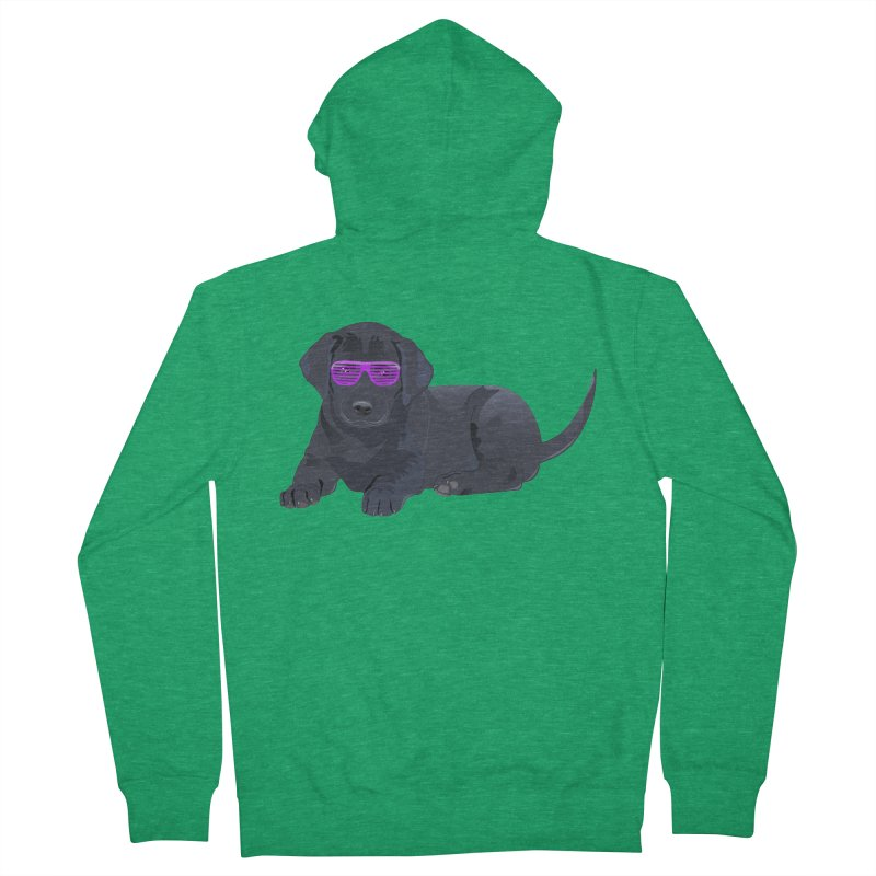 Black Lab Puppy with Purple Glasses Men's Zip-Up Hoody by 2Dyzain's Artist Shop