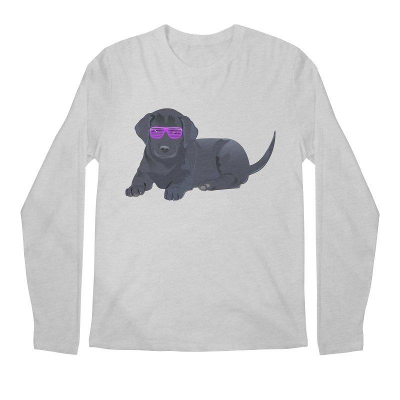 Black Lab Puppy with Purple Glasses Men's Longsleeve T-Shirt by 2Dyzain's Artist Shop