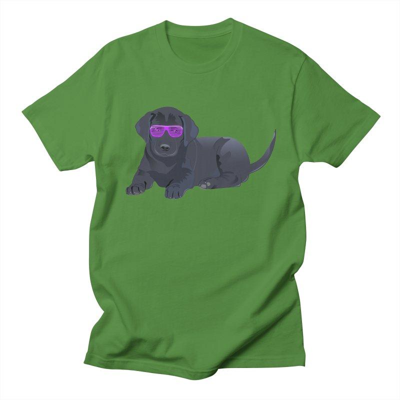 Black Lab Puppy with Purple Glasses Men's T-shirt by 2Dyzain's Artist Shop