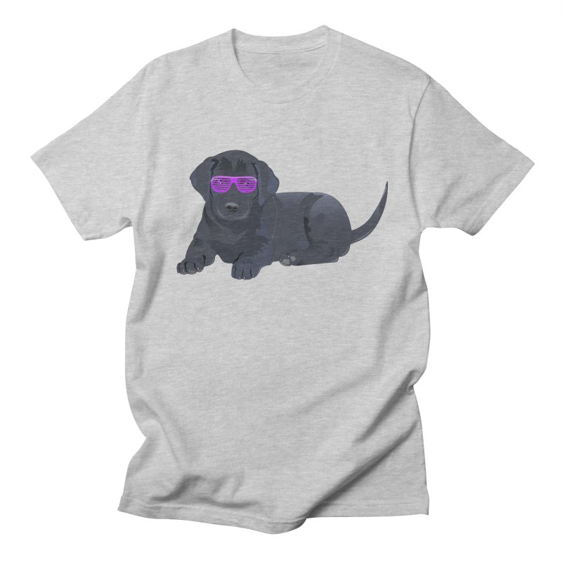 Black Lab Puppy with Purple Glasses Women's Unisex T-Shirt by 2Dyzain's Artist Shop