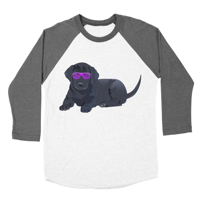 Black Lab Puppy with Purple Glasses Women's Baseball Triblend T-Shirt by 2Dyzain's Artist Shop