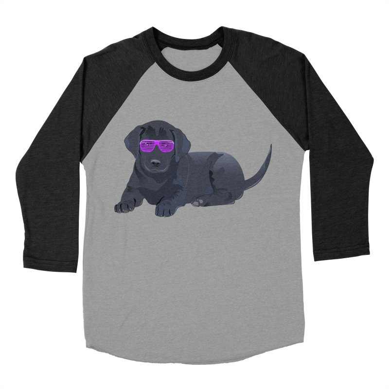 Black Lab Puppy with Purple Glasses Men's Baseball Triblend T-Shirt by 2Dyzain's Artist Shop