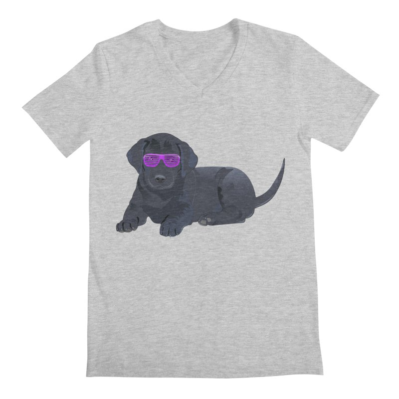 Black Lab Puppy with Purple Glasses Men's V-Neck by 2Dyzain's Artist Shop
