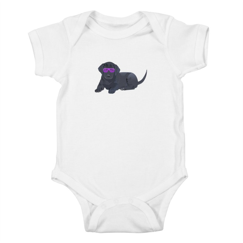 Black Lab Puppy with Purple Glasses Kids Baby Bodysuit by 2Dyzain's Artist Shop