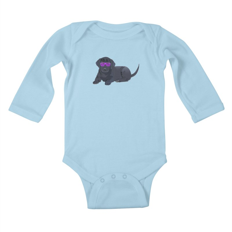 Black Lab Puppy with Purple Glasses Kids Baby Longsleeve Bodysuit by 2Dyzain's Artist Shop