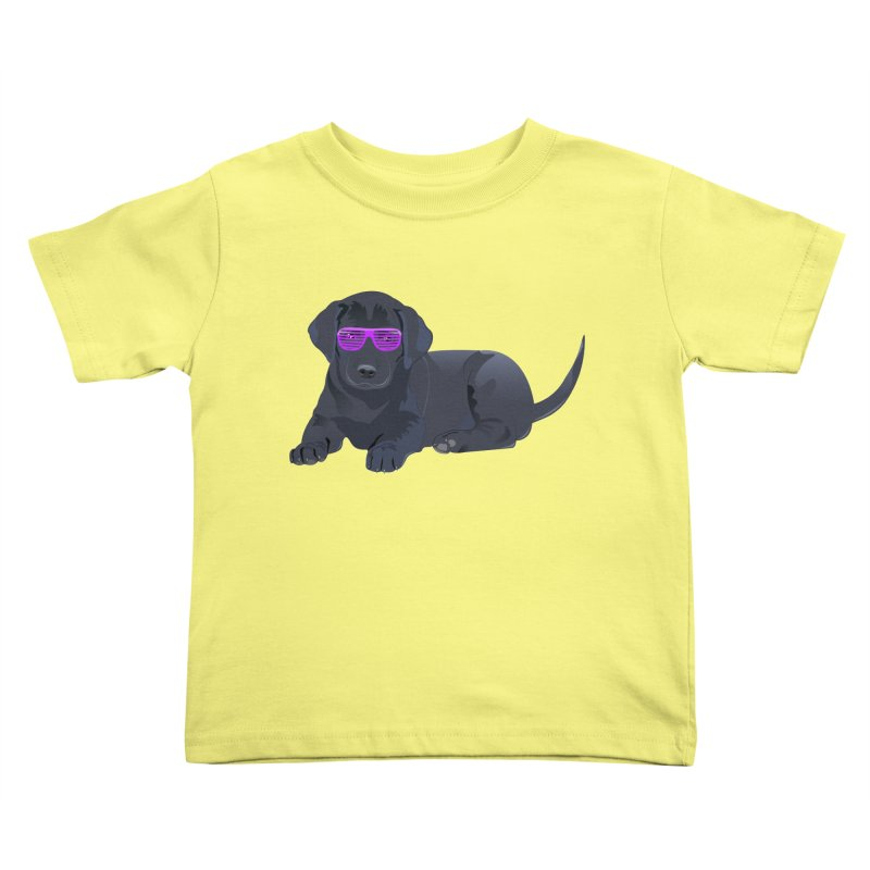 Black Lab Puppy with Purple Glasses Kids Toddler T-Shirt by 2Dyzain's Artist Shop