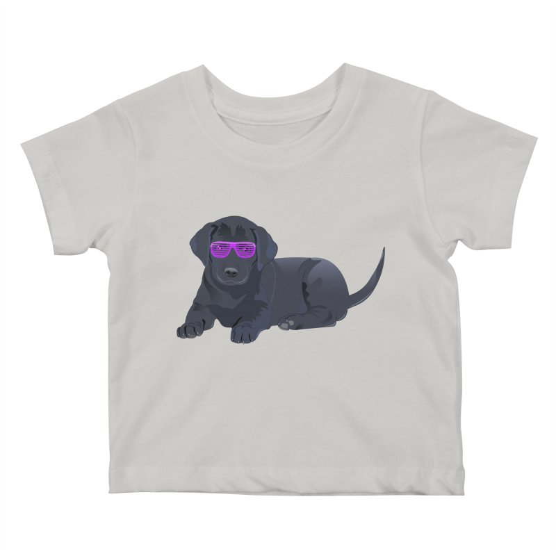 Black Lab Puppy with Purple Glasses Kids Baby T-Shirt by 2Dyzain's Artist Shop