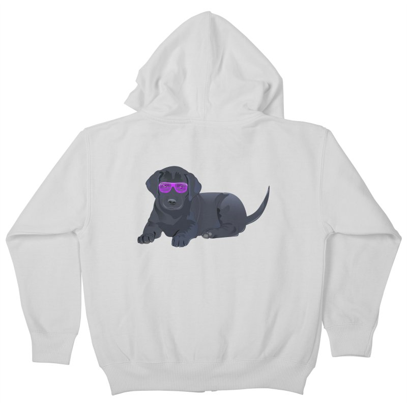 Black Lab Puppy with Purple Glasses Kids Zip-Up Hoody by 2Dyzain's Artist Shop