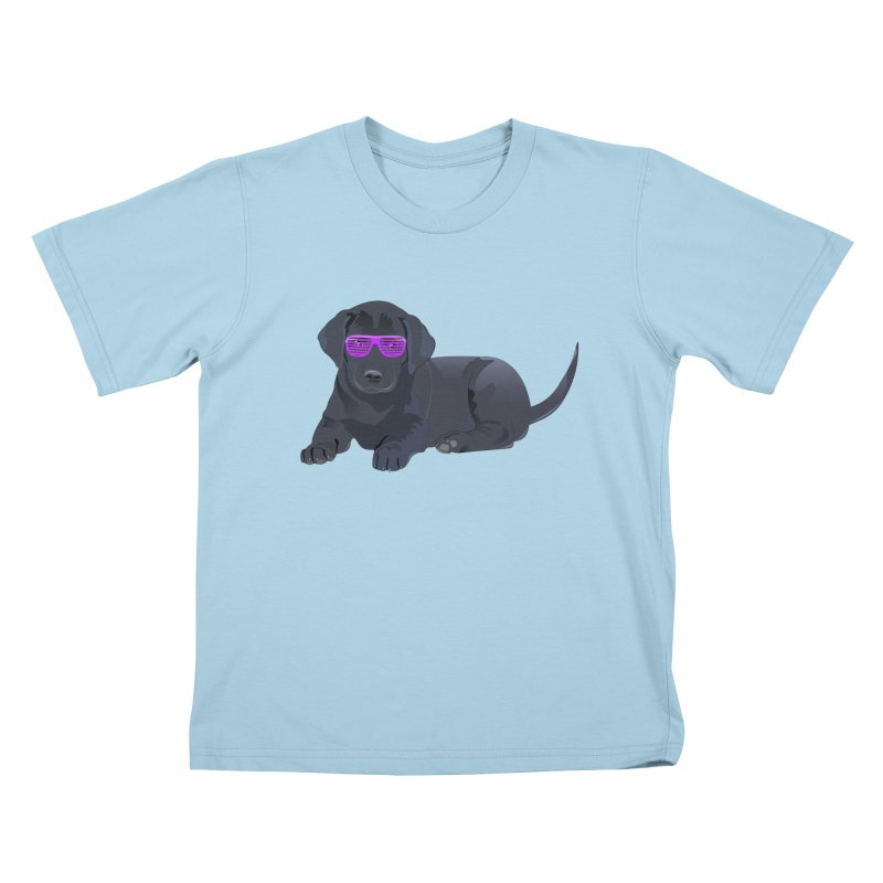 Black Lab Puppy with Purple Glasses Kids T-shirt by 2Dyzain's Artist Shop