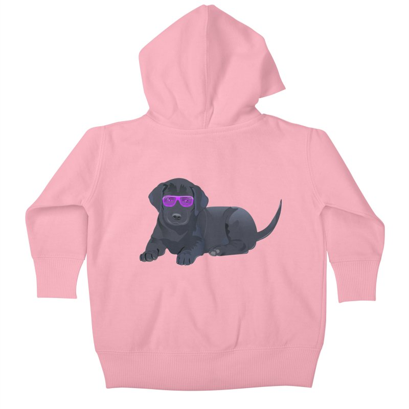 Black Lab Puppy with Purple Glasses Kids Baby Zip-Up Hoody by 2Dyzain's Artist Shop