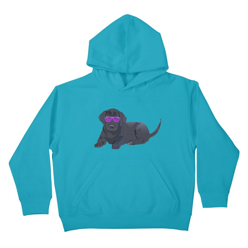 Black Lab Puppy with Purple Glasses Kids Pullover Hoody by 2Dyzain's Artist Shop
