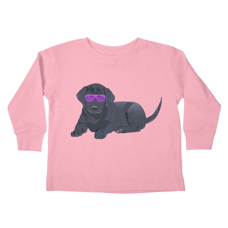 Black Lab Puppy with Purple Glasses Kids Toddler Longsleeve T-Shirt by 2Dyzain's Artist Shop
