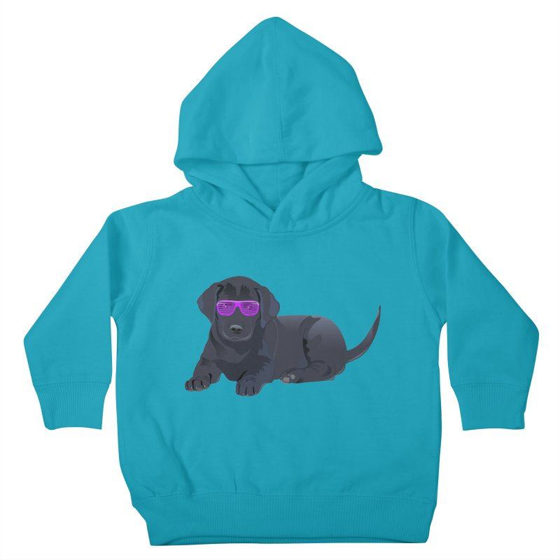 Black Lab Puppy with Purple Glasses Kids Toddler Pullover Hoody by 2Dyzain's Artist Shop
