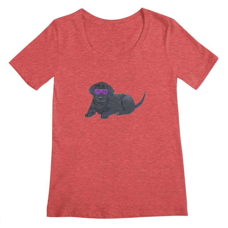 Black Lab Puppy with Purple Glasses Women's Scoopneck by 2Dyzain's Artist Shop