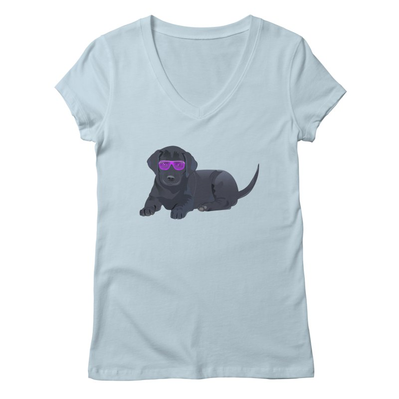 Black Lab Puppy with Purple Glasses Women's V-Neck by 2Dyzain's Artist Shop