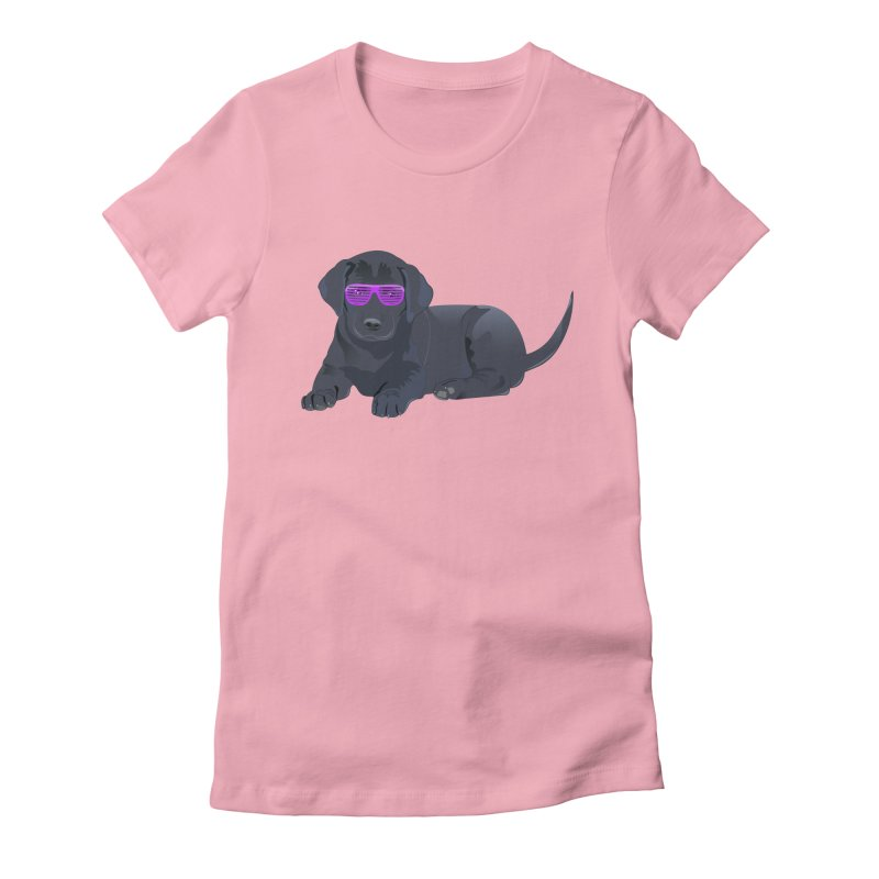 Black Lab Puppy with Purple Glasses Women's Fitted T-Shirt by 2Dyzain's Artist Shop