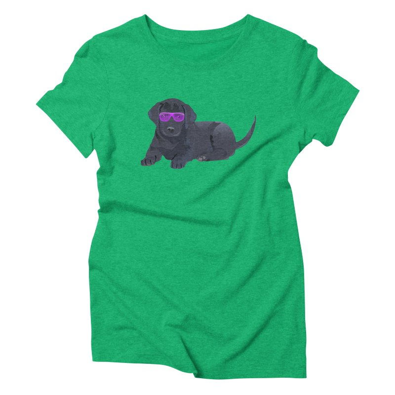 Black Lab Puppy with Purple Glasses Women's Triblend T-shirt by 2Dyzain's Artist Shop